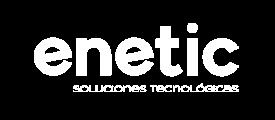 Logo enetic soluciones tecnológicas blanco
